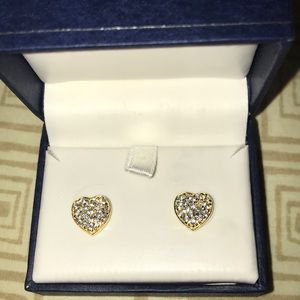 Jewelry - Gold & Diamond Heart Earrings